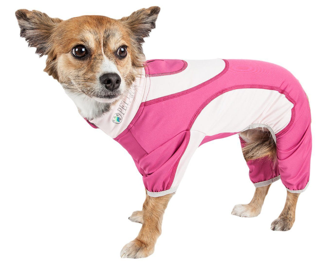 Pet Life ®  Active 'Warm-Pup' Heathered Performance 4-Way Stretch Two-Toned Full Body Warm Up X-Small Hot Pink / Light Pink