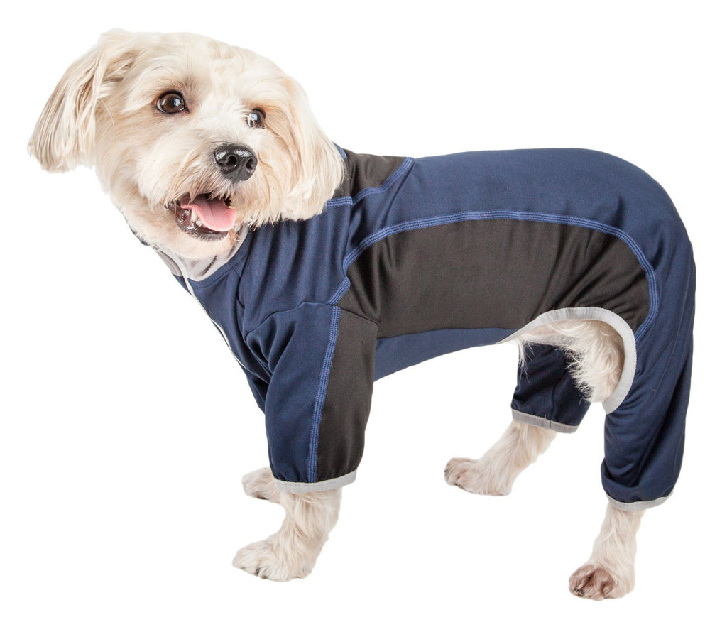 Pet Life ®  Active 'Warm-Pup' Heathered Performance 4-Way Stretch Two-Toned Full Body Warm Up X-Small Navy and Black