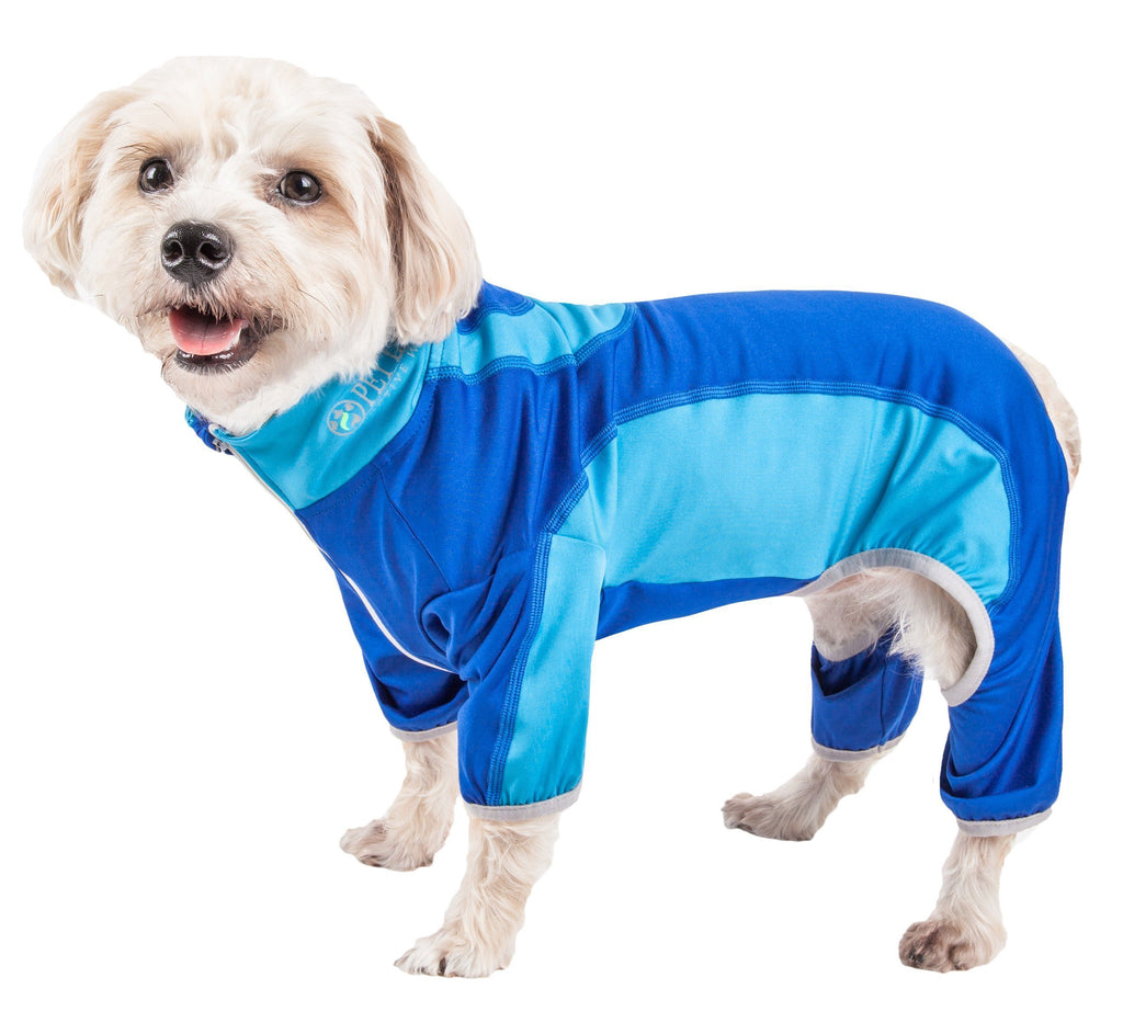 Pet Life ®  Active 'Warm-Pup' Heathered Performance 4-Way Stretch Two-Toned Full Body Warm Up X-Small Dark Blue / Light Blue