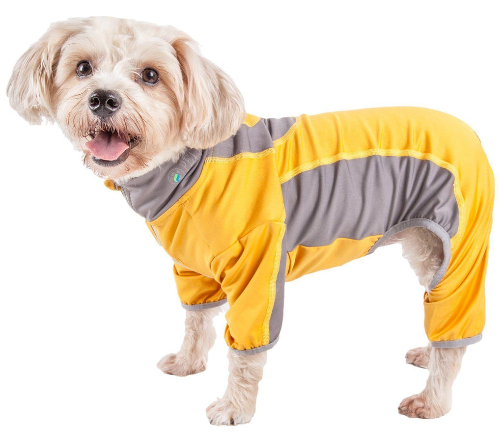 Pet Life ®  Active 'Warm-Pup' Heathered Performance 4-Way Stretch Two-Toned Full Body Warm Up X-Small Sunkist Yellow Orange and Gray