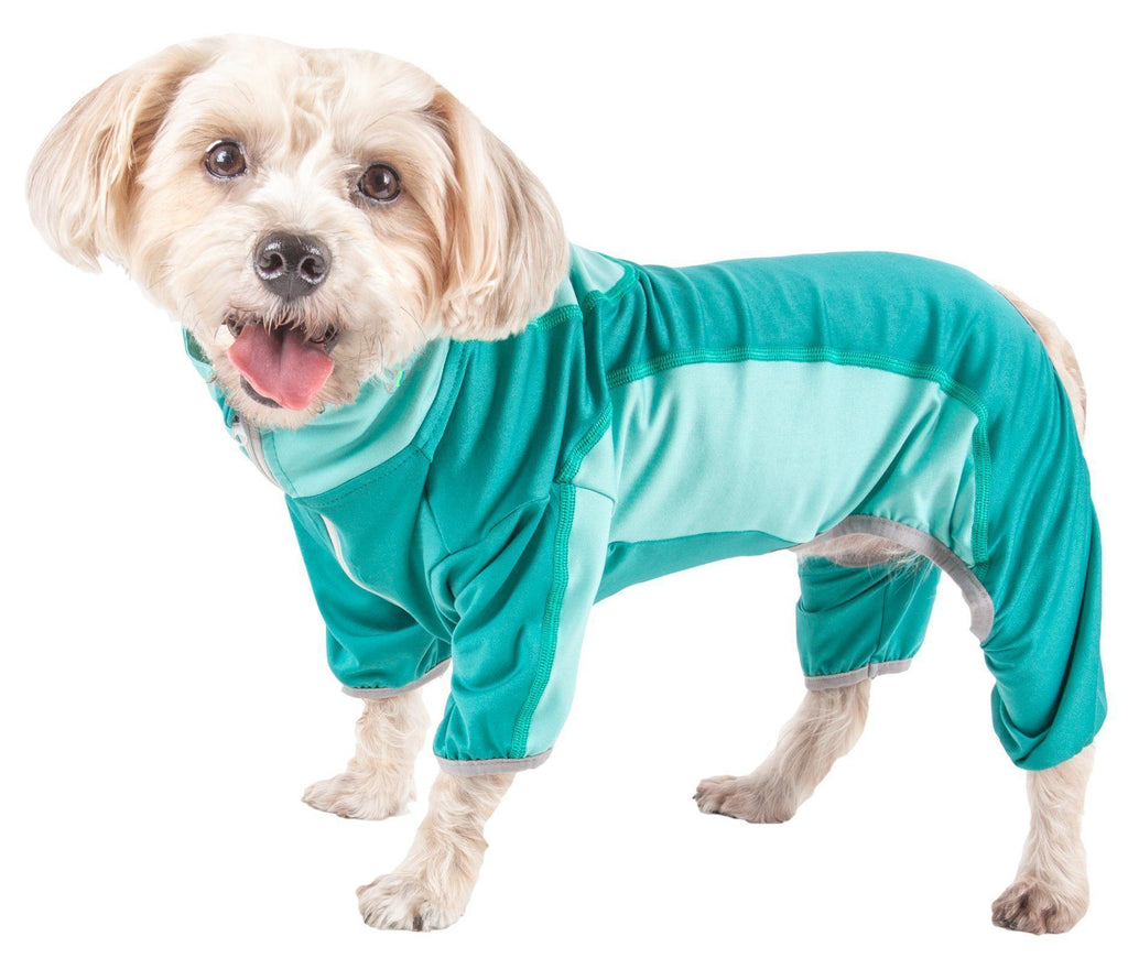 Pet Life ®  Active 'Warm-Pup' Heathered Performance 4-Way Stretch Two-Toned Full Body Warm Up X-Small Aqua Green And Green