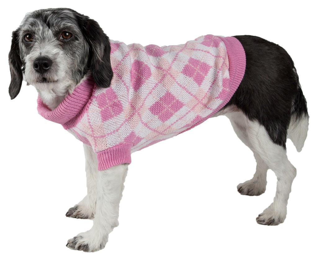 Pet Life ® 'Argyle Style' Ribbed Knitted Fashion Designer Dog Sweater X-Small Pink Argyle