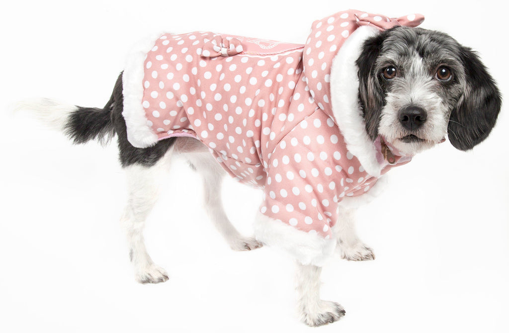 Pet Life ® 'Bow-Couture' Polka-Dot Bowed Insulated Dog Sweater Jacket X-Small Pink Polka