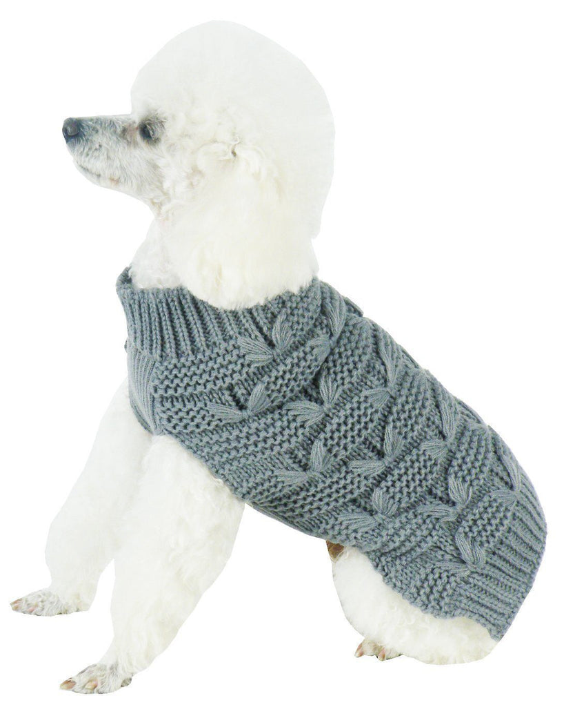 Pet Life ® Butterfly Stitched Heavy Cable Knitted Fashion Turtle Neck Dog Sweater X-Small Dark Grey