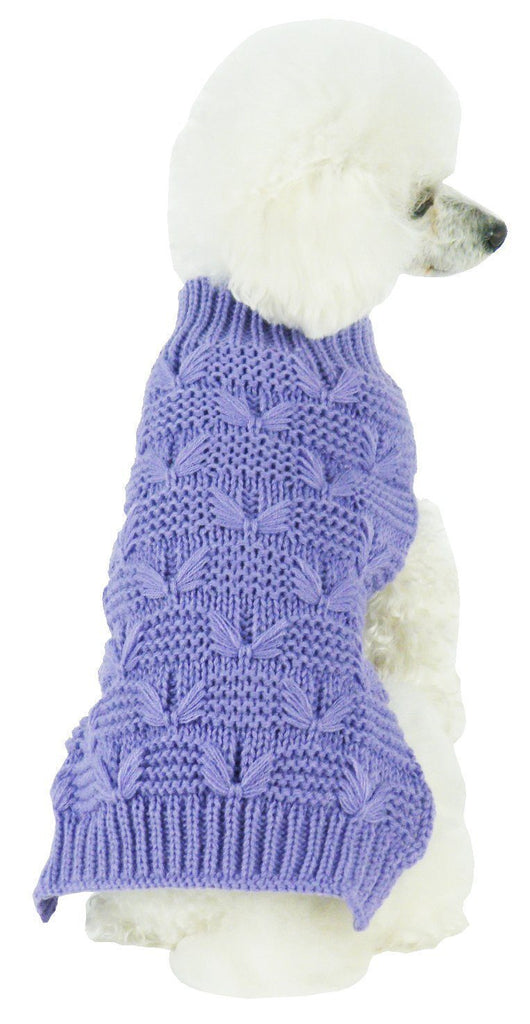 Pet Life ® Butterfly Stitched Heavy Cable Knitted Fashion Turtle Neck Dog Sweater X-Small Lavender Purple