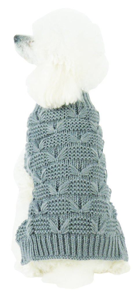 Pet Life ® Butterfly Stitched Heavy Cable Knitted Fashion Turtle Neck Dog Sweater