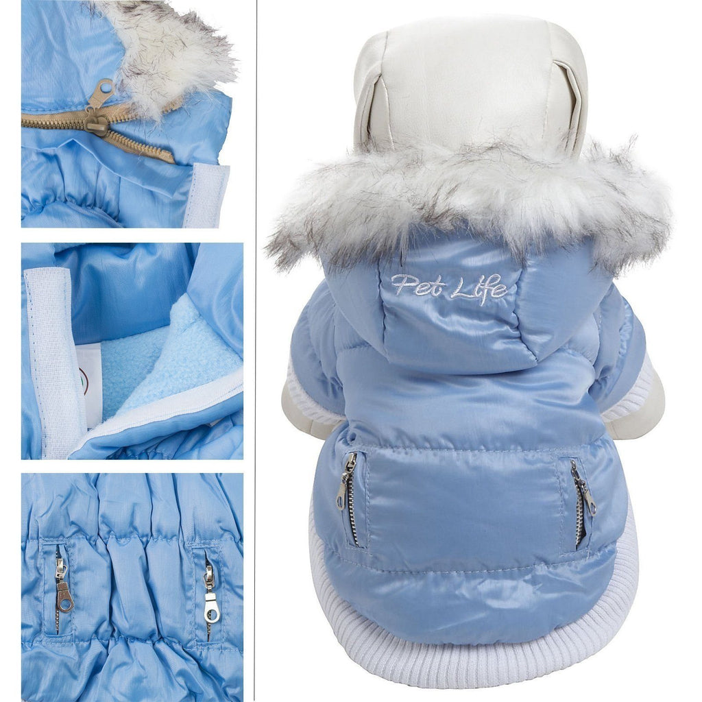 Pet Life ® Classic Metallic Fashion 3M Insulated Dog Coat Parka  w/ Removable Hood X-Small Sky Blue