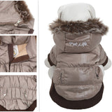 Pet Life ® Classic Metallic Fashion 3M Insulated Dog Coat Parka  w/ Removable Hood X-Small Metallic Grey