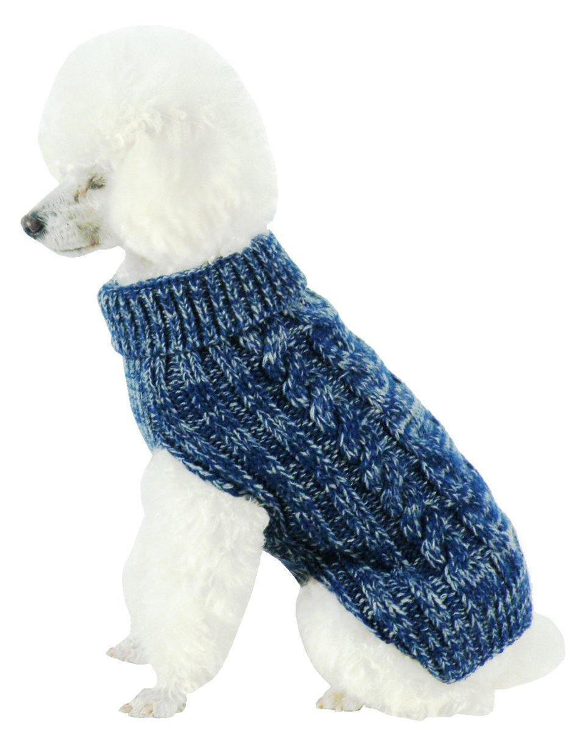 Pet Life ® Classical 'True Blue' Heavy Cable Knitted Ribbed Fashion Dog Sweater X-Small