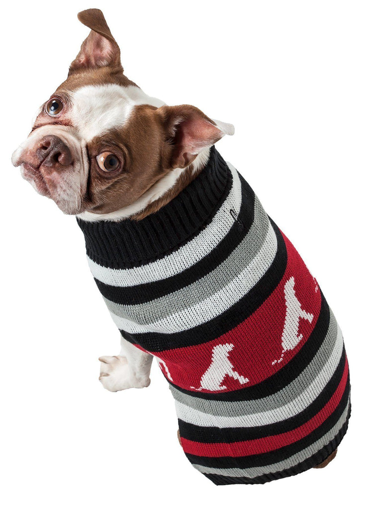 Pet Life ® Dog Patterned Fashion Striped Ribbed Turtle Neck Dog Sweater
