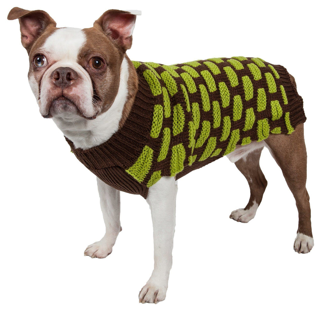 Pet Life ® Fashion Weaved Heavy Knit Designer Ribbed Turtle Neck Dog Sweater X-Small Choco Brown And Neon Green
