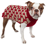 Pet Life ® Fashion Weaved Heavy Knit Designer Ribbed Turtle Neck Dog Sweater X-Small Red And Beige