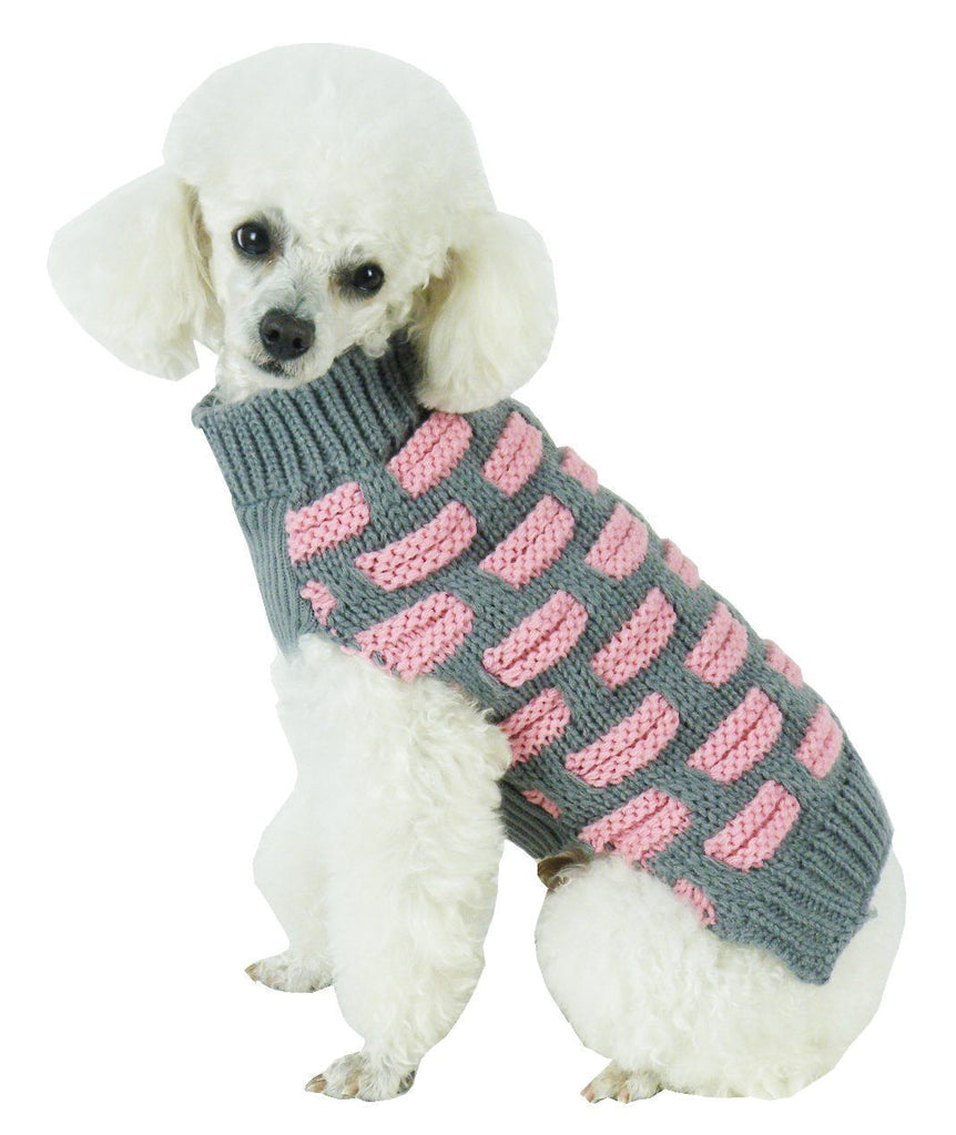 Pet Life ® Fashion Weaved Heavy Knit Designer Ribbed Turtle Neck Dog Sweater X-Small Pink And Grey
