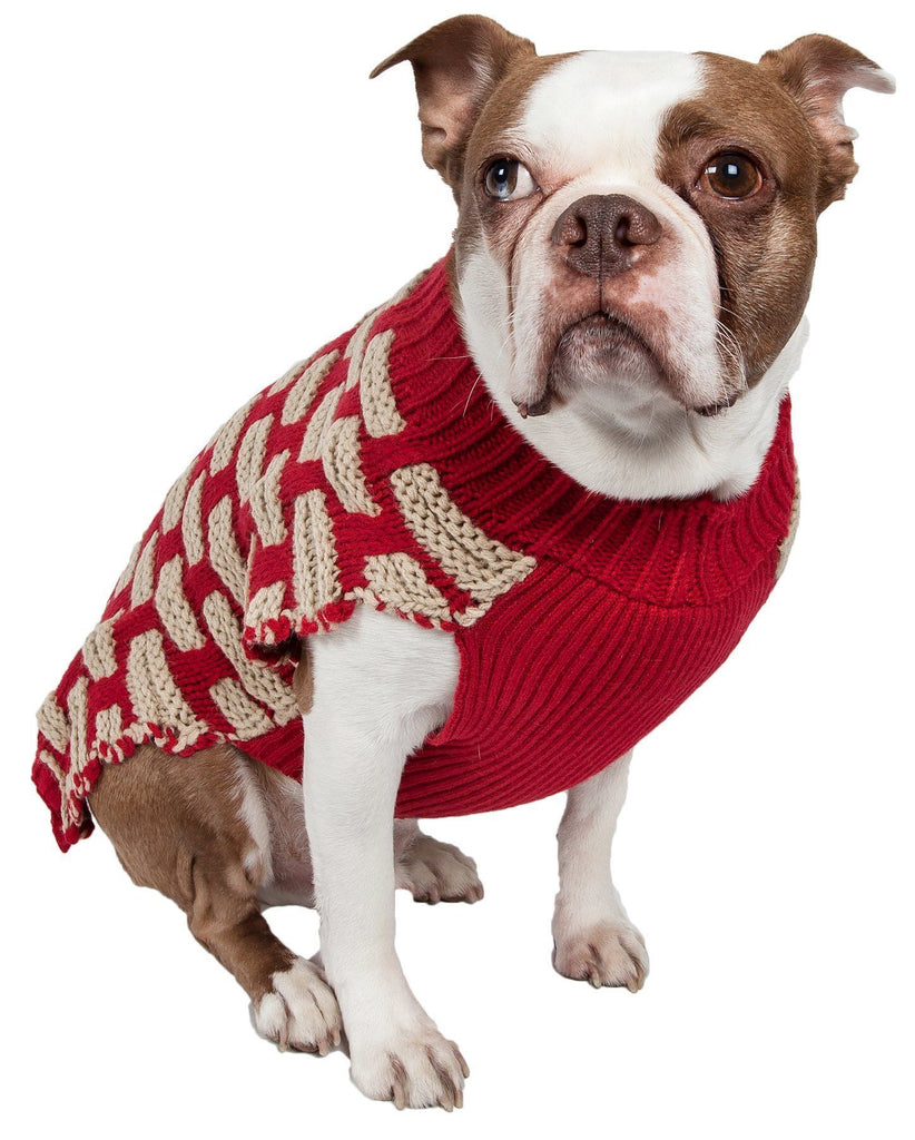 Pet Life ® Fashion Weaved Heavy Knit Designer Ribbed Turtle Neck Dog Sweater