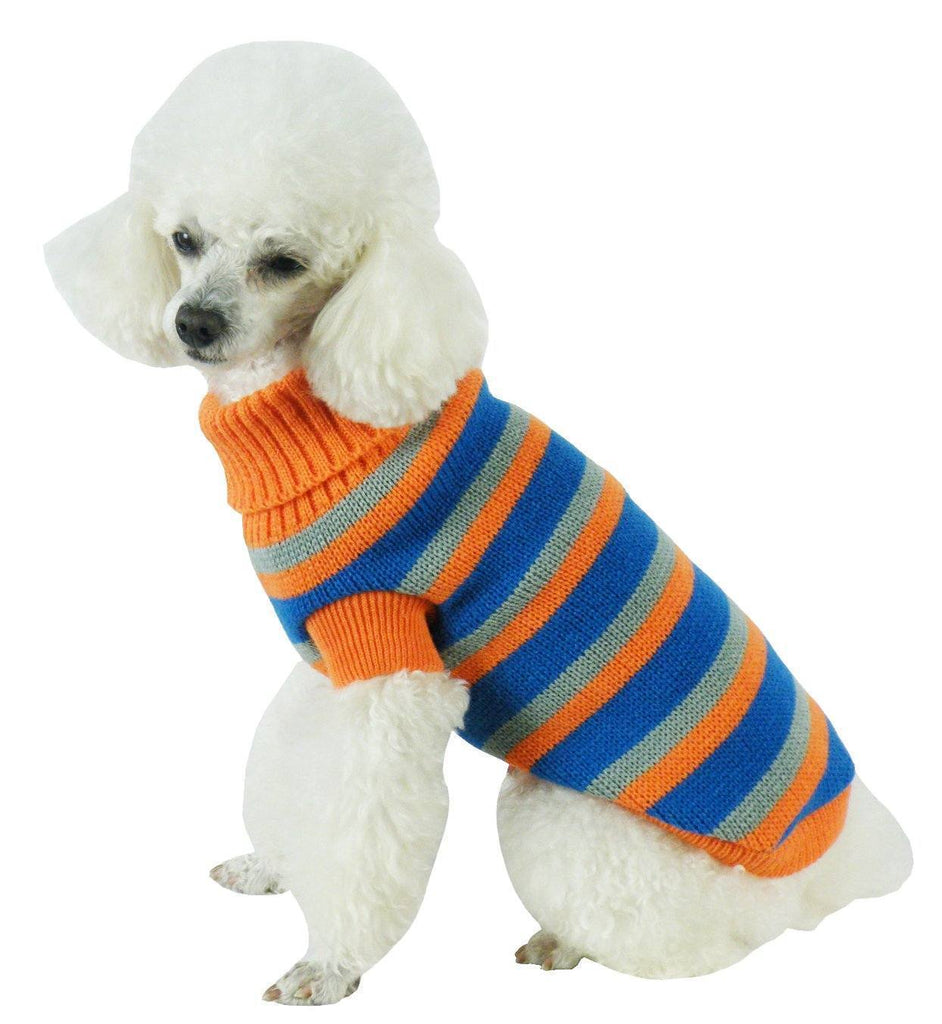 Pet Life ® Heavy Cable Knitted Striped Fashion Designer Polo Dog Sweater X-Small