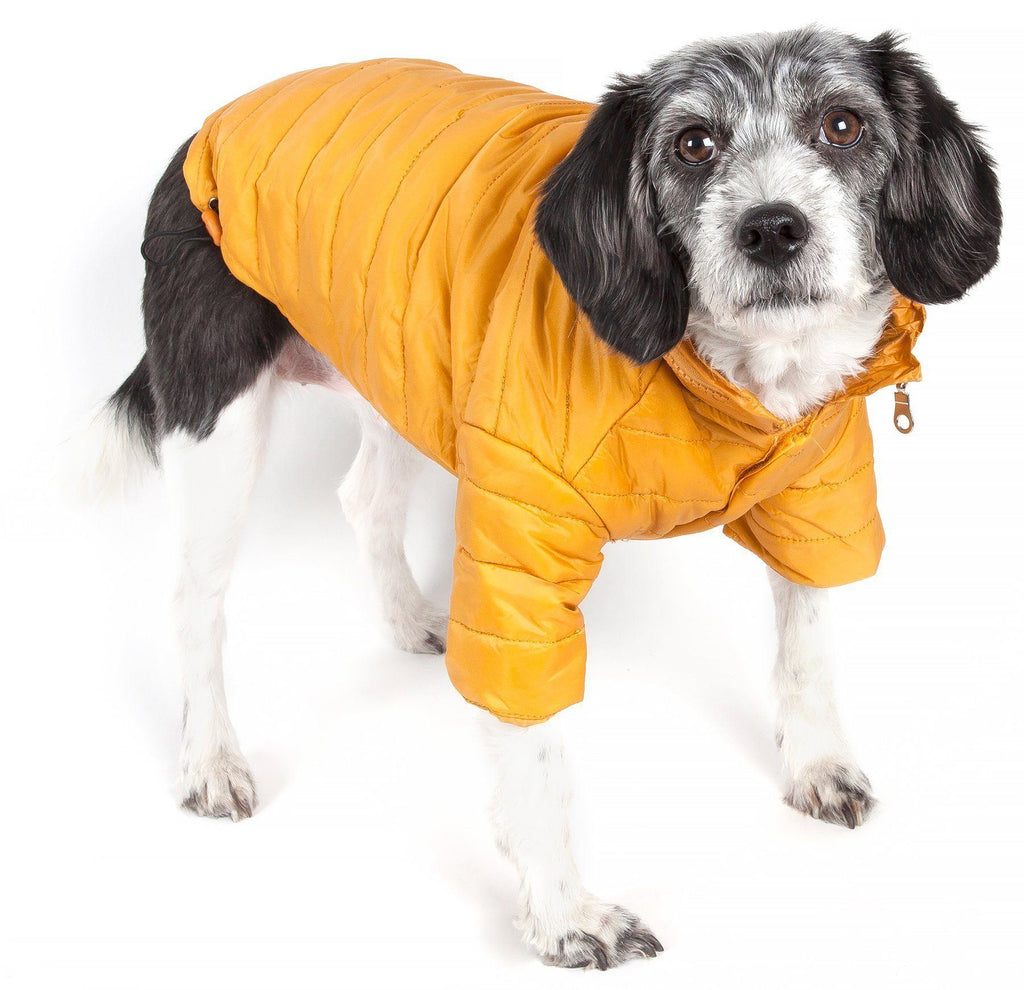 Pet Life ® Lightweight Adjustable and Collapsible 'Sporty Avalanche' Dog Coat w/ Pop-out Zippered Hood X-Small Mustard Yellow