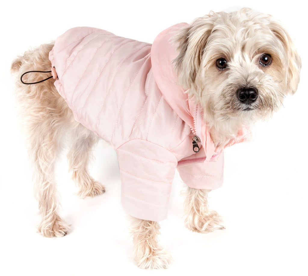 Pet Life ® Lightweight Adjustable and Collapsible 'Sporty Avalanche' Dog Coat w/ Pop-out Zippered Hood X-Small Light Pink