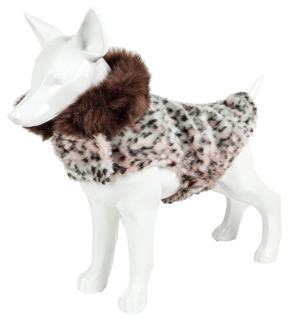Pet Life ®  Luxe 'Furracious' Cheetah Patterned Mink Dog Coat Jacket X-Small