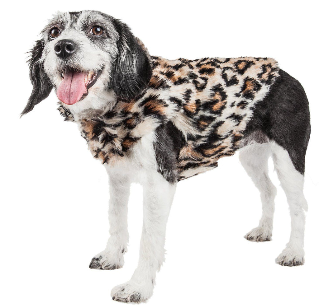 Pet Life ®  Luxe 'Lab-Pard' Dazzling Leopard Patterned Mink Fur Dog Coat Jacket X-Small