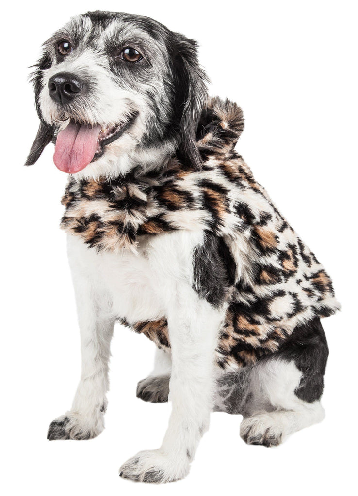 Pet Life ®  Luxe 'Lab-Pard' Dazzling Leopard Patterned Mink Fur Dog Coat Jacket