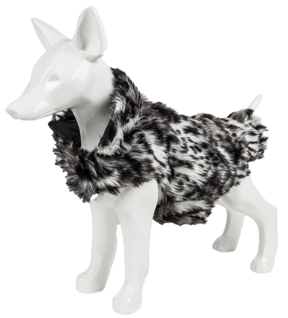 Pet Life ®  Luxe 'Paw Dropping' Designer Gray-Scale Tiger Pattern Mink Fur Dog Coat Jacket