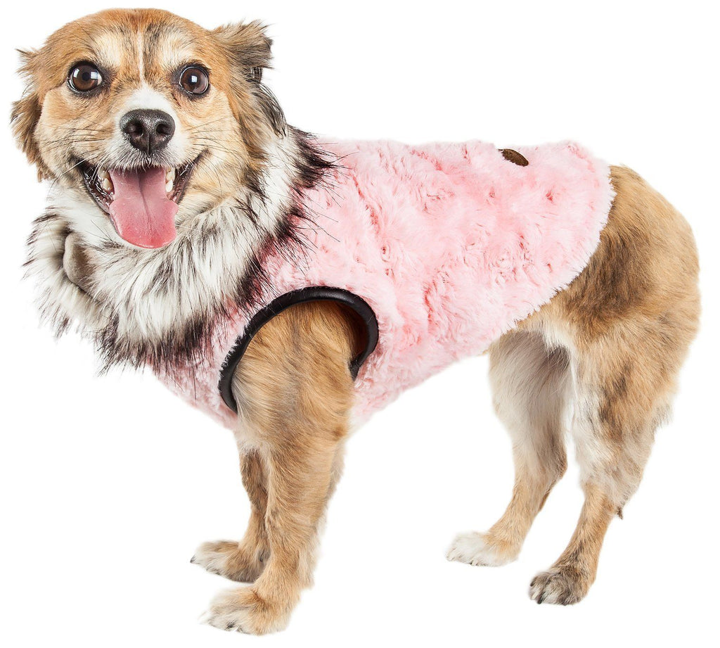 Pet Life ®  Luxe 'Pinkachew' Charming Designer Mink Fur Dog Coat Jacket X-Small