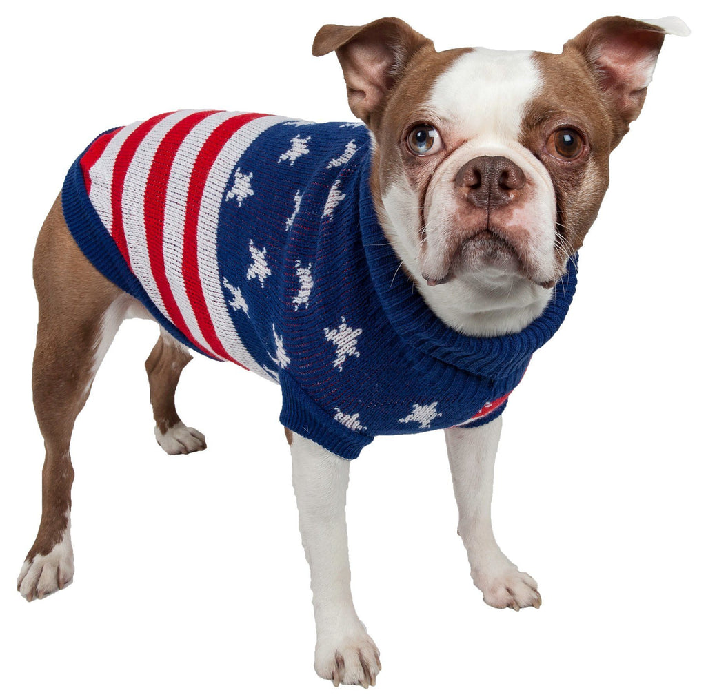 Pet Life ® 'Patriot Independence Star' Heavy Knitted Fashion Ribbed Turtle Neck Dog Sweater X-Small