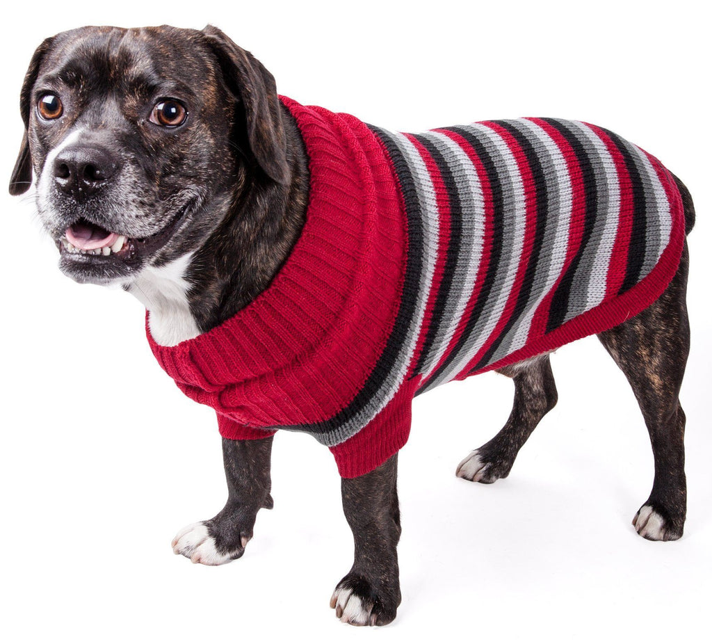 Pet Life ® 'Polo-Casual Lounge' Cable Knitted Designer Turtle Neck Dog Sweater