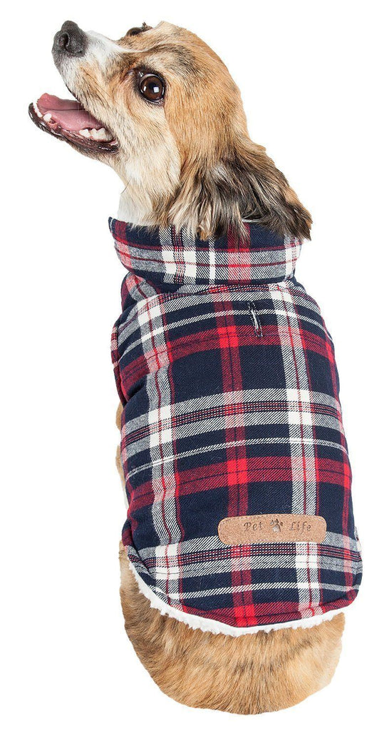 Pet Life ®  'Puddler' Classical Plaided Insulated Dog Coat Jacket
