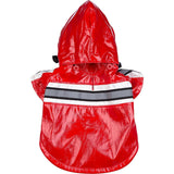 Pet Life ® 'Reflecta-Glow' Reflective Waterproof Adjustable Dog Raincoat Jacket w/ Removable Hood X-Small Red