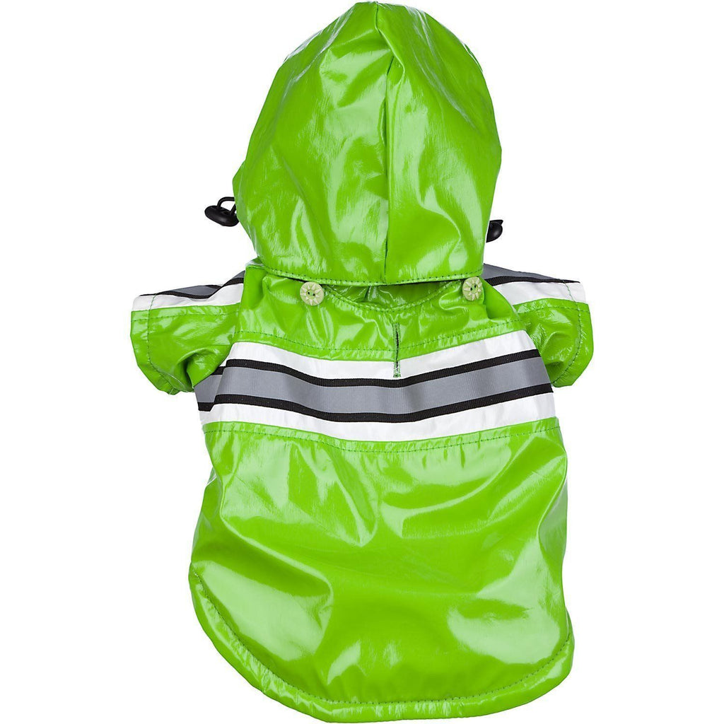 Pet Life ® 'Reflecta-Glow' Reflective Waterproof Adjustable Dog Raincoat Jacket w/ Removable Hood X-Small Green