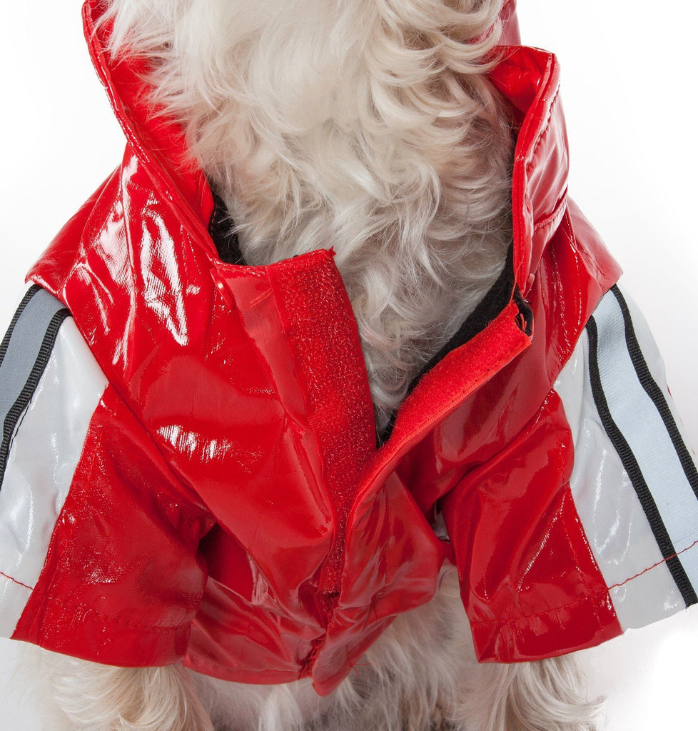 Pet Life ® 'Reflecta-Glow' Reflective Waterproof Adjustable Dog Raincoat Jacket w/ Removable Hood