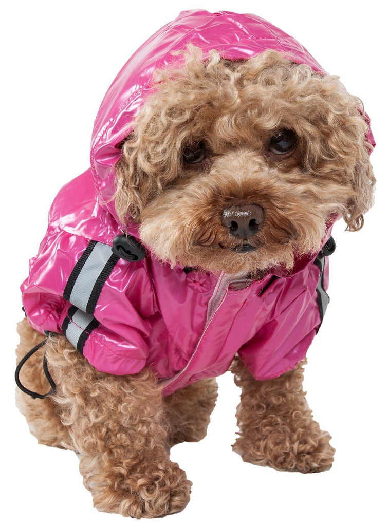Pet Life ® 'Reflecta-Sport' Multi-Adjustable Reflective Weather-Proof Dog Raincoat w/ Removable Hood X-Small Hot Pink