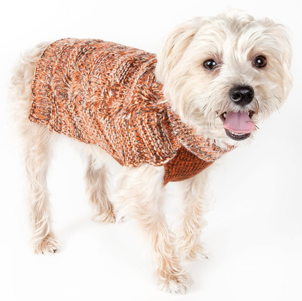 Pet Life ® 'Royal Bark' Heavy Cable Knitted Designer Fashion Dog Sweater X-Small Light Brown, Tangerine And Grey