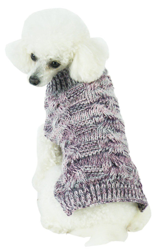 Pet Life ® 'Royal Bark' Heavy Cable Knitted Designer Fashion Dog Sweater X-Small Light Grey, Dark Grey And Pink