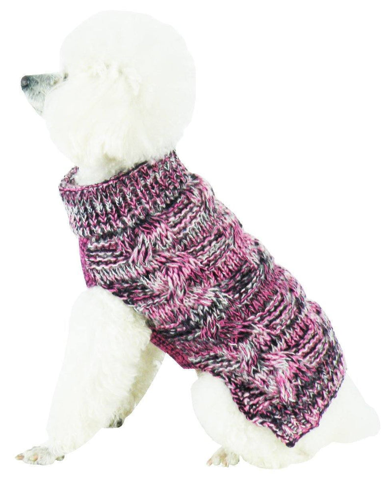 Pet Life ® 'Royal Bark' Heavy Cable Knitted Designer Fashion Dog Sweater X-Small Pink, Black And Grey