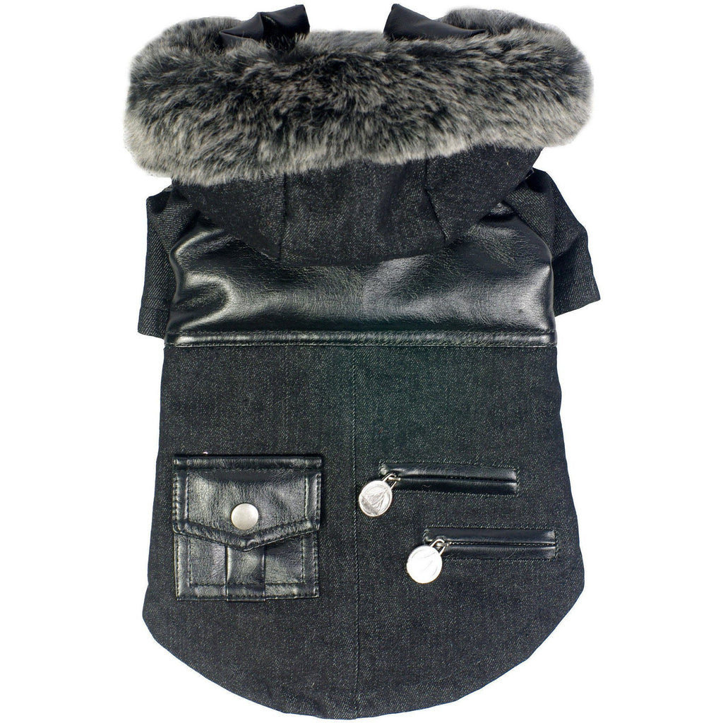 Pet Life ® 'Ruff-Choppered' Denim Fashioned Wool Dog Coat Jacket X-Small