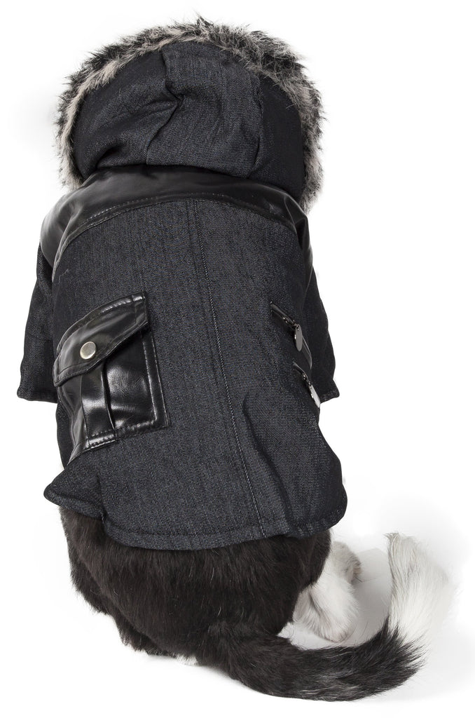 Pet Life ® 'Ruff-Choppered' Denim Fashioned Wool Dog Coat Jacket