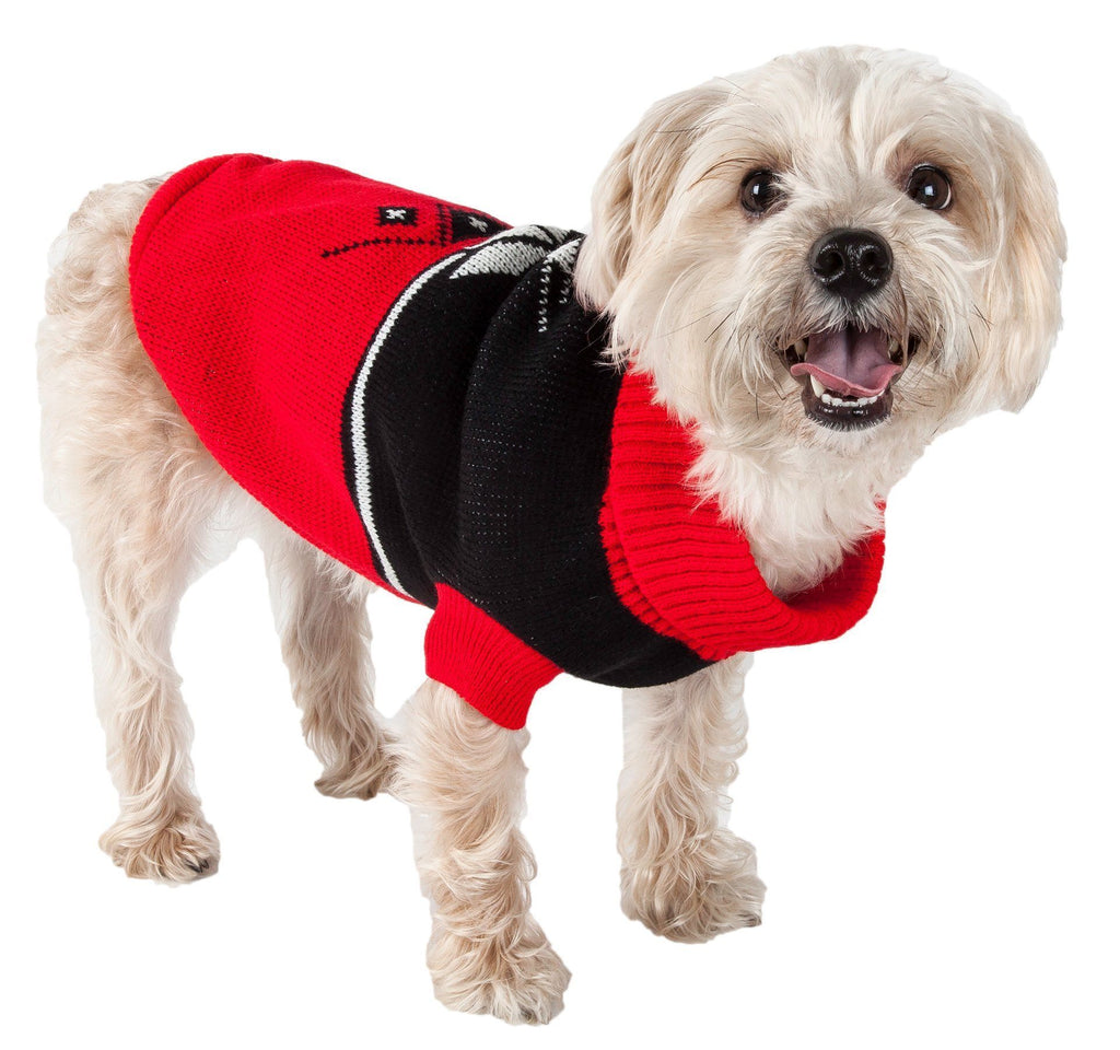 Pet Life ® Snow Flake Cable-Knitted Ribbed Fashion Turtle Neck Dog Sweater X-Small Red And Black