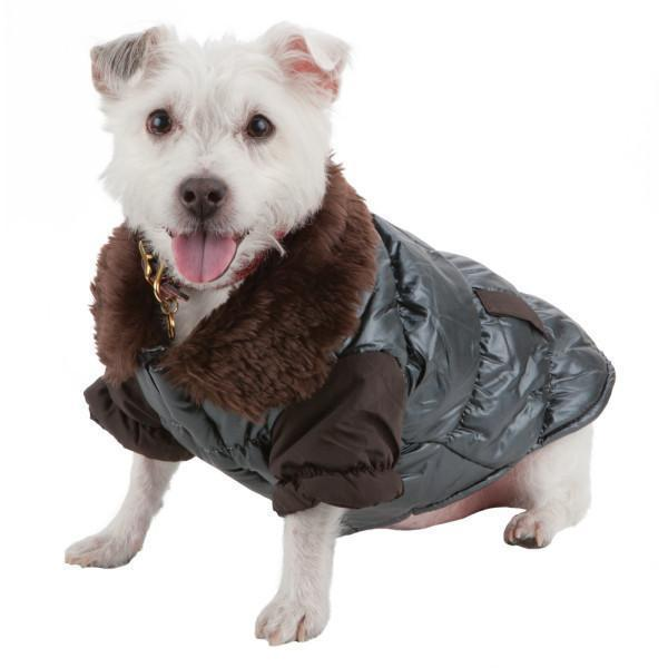 Pet Life ® Track-Collared' Metallic Ultra Fur 3M Insulated Pet Dog Jacket