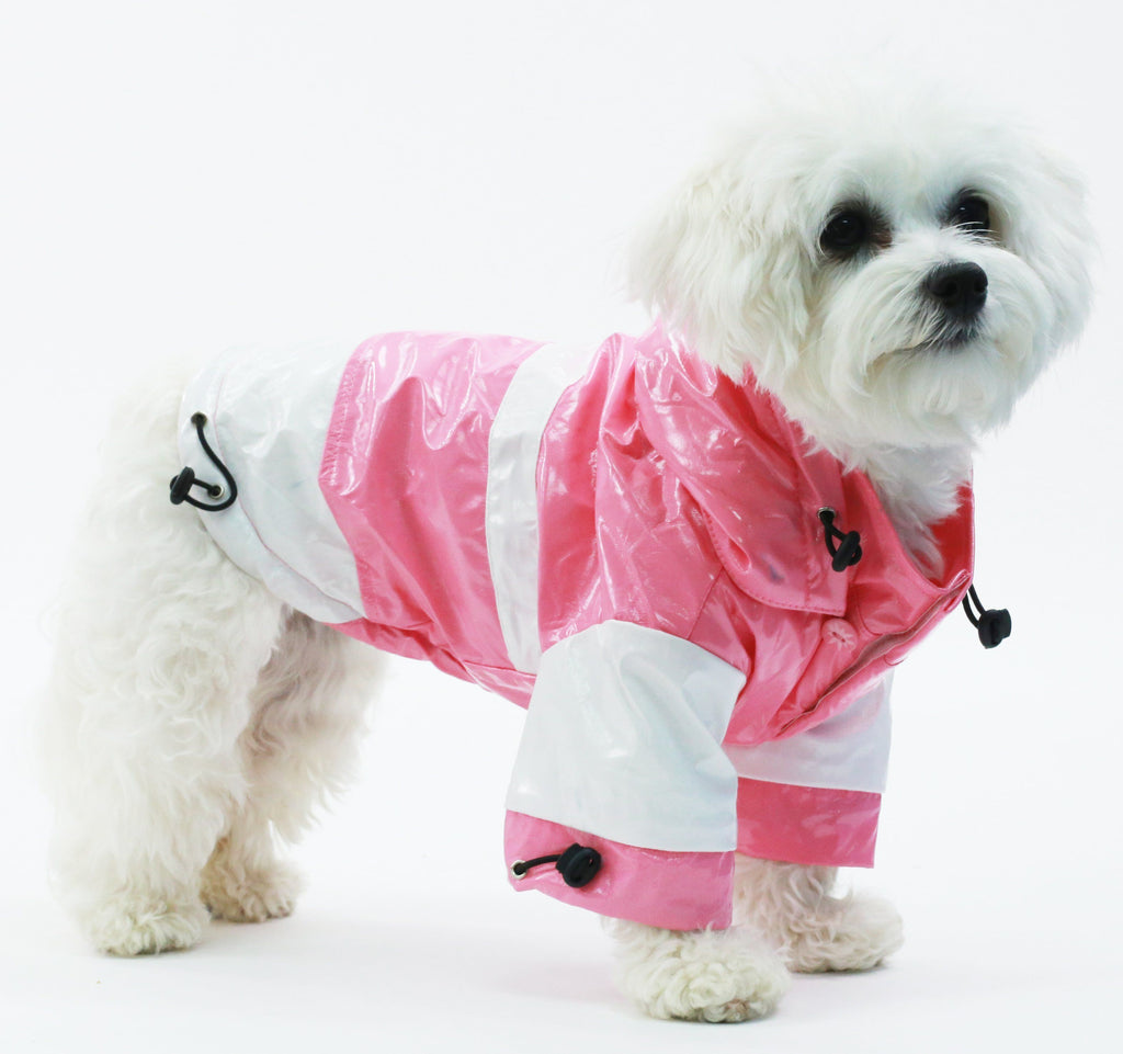 Pet Life ® 'Two-Tone' Waterproof Adjustable Dog Raincoat Jacket w/ Removable Hood