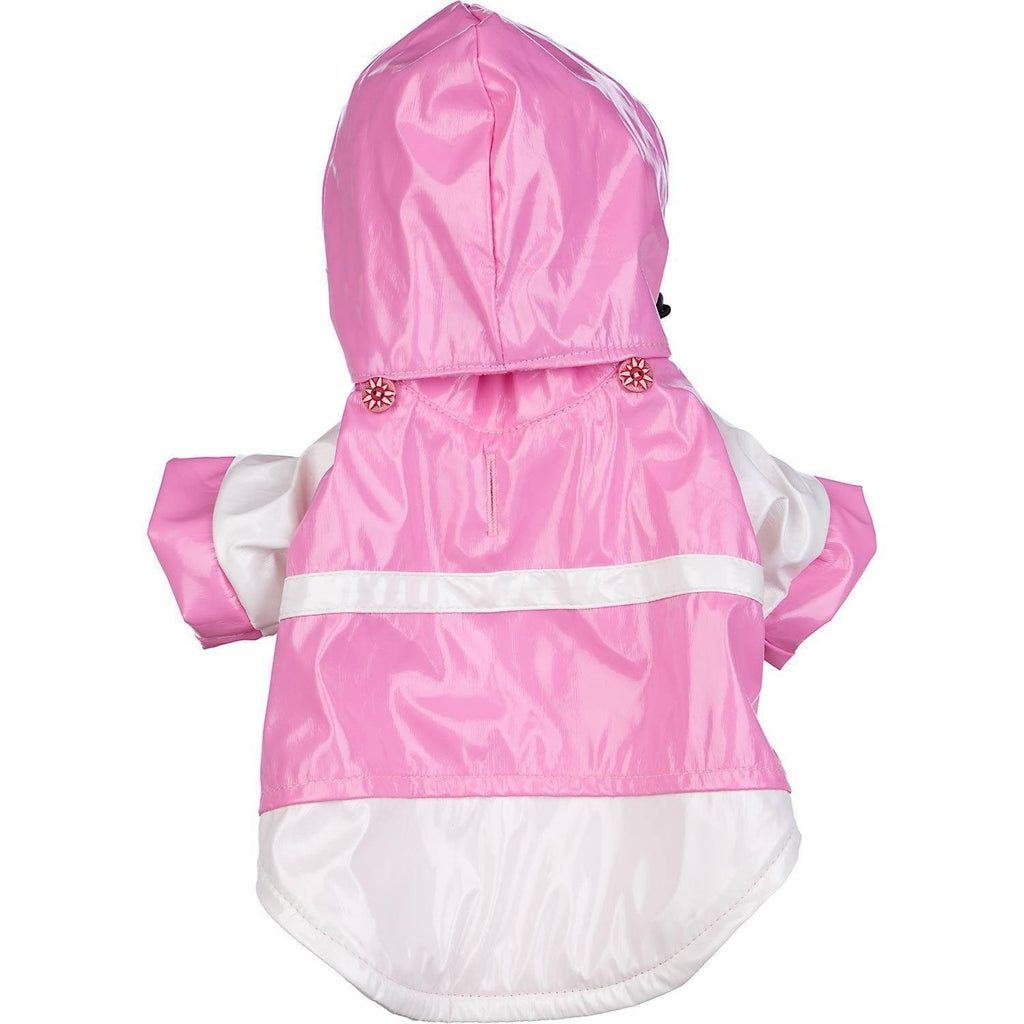 Pet Life ® 'Two-Tone' Waterproof Adjustable Dog Raincoat Jacket w/ Removable Hood X-Small