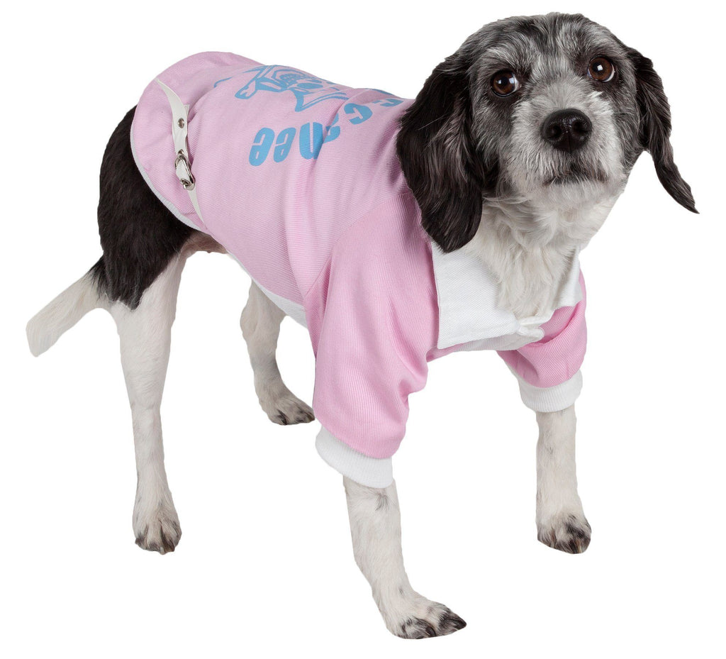 Pet Life ® 'Varsity-Barkcity' Buckled Collared Dog Coat Jacket X-Small Pink/White