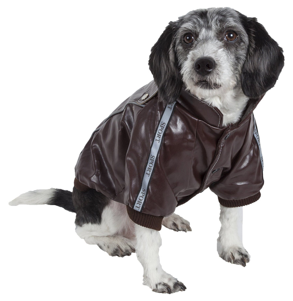 Pet Life ® 'Wuff-Rider' Fashion Suede Stitched Dog Jacket X-Small