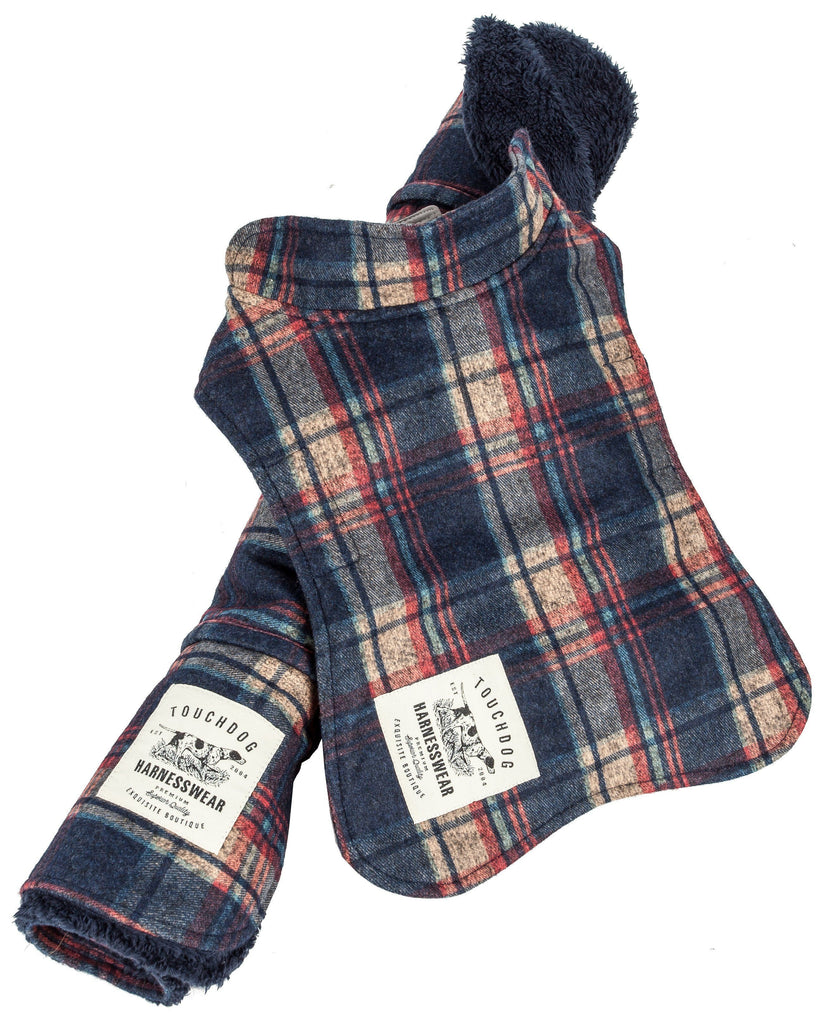 Touchdog ® 2-In-1 Tartan Plaided Dog Jacket With Matching Reversible Dog Mat X-Small Navy Plaid