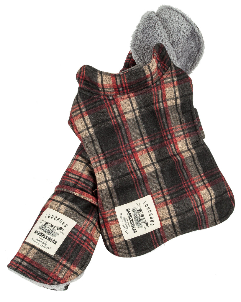 Touchdog ® 2-In-1 Tartan Plaided Dog Jacket With Matching Reversible Dog Mat X-Small Red Plaid