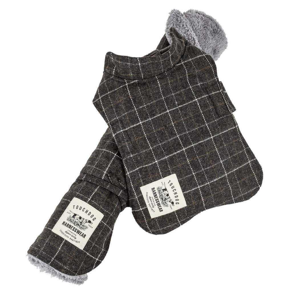 Touchdog ® 2-In-1 Windowpane Plaided Dog Jacket With Matching Reversible Dog Mat X-Small Dark Gray