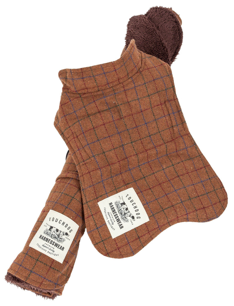 Touchdog ® 2-In-1 Windowpane Plaided Dog Jacket With Matching Reversible Dog Mat X-Small Brown Plaid
