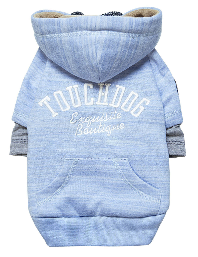 Touchdog ® Hampton Beach Designer Ultra Soft Sand-Blasted Cotton Dog Hoodie Sweater X-Small Blue