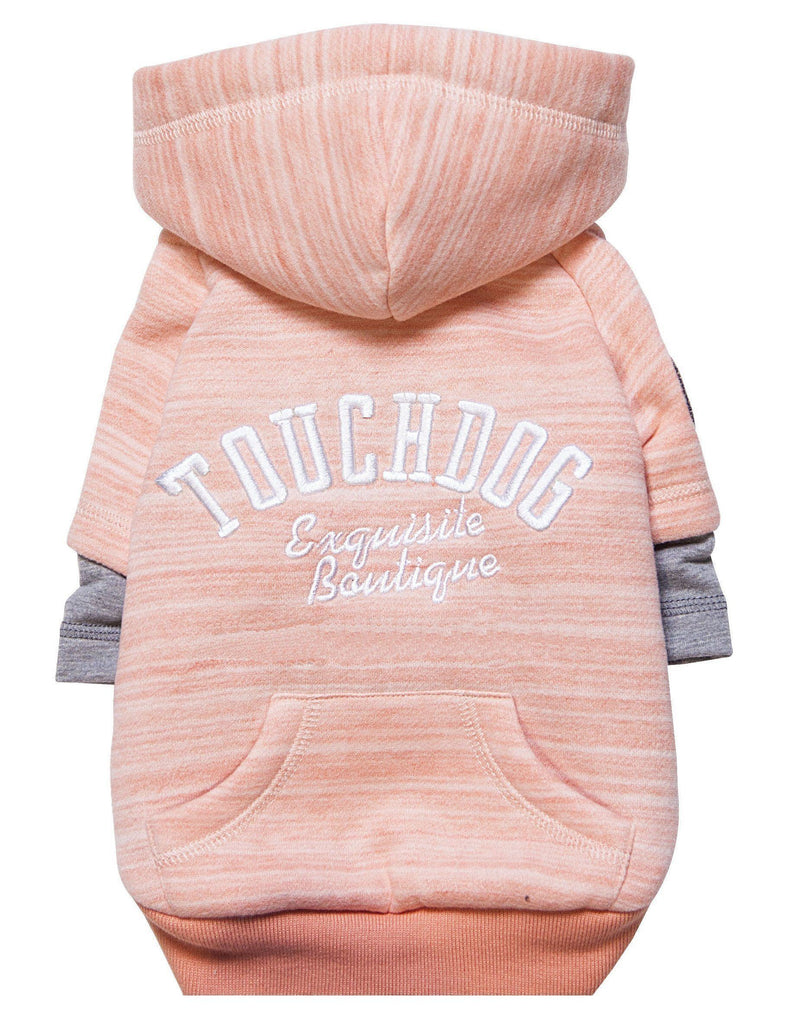 Touchdog ® Hampton Beach Designer Ultra Soft Sand-Blasted Cotton Dog Hoodie Sweater X-Small Pink